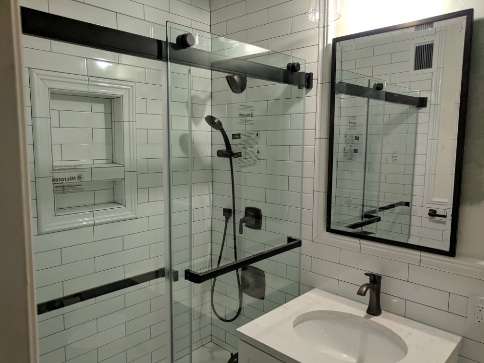 shower door installation and tile work bathroom remodeling services