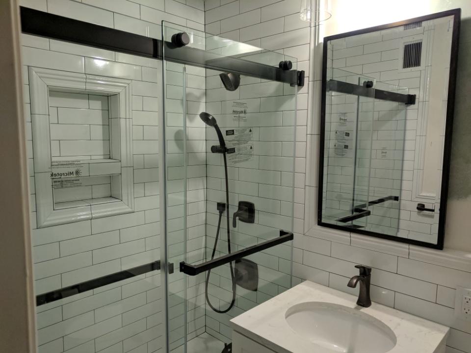 shower door installation and tile work bathroom remodeling services